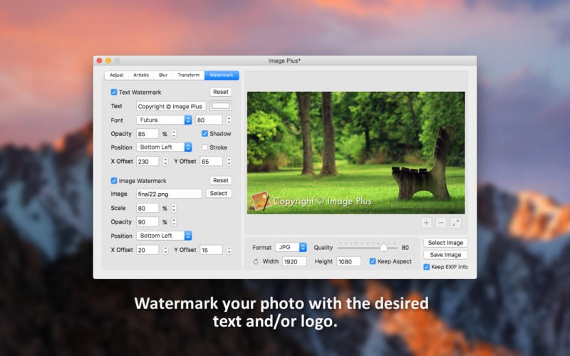 Watermark, rotate and convert photos